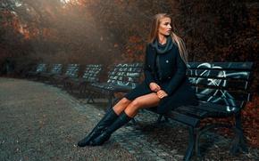 Picture autumn, girl, style, Park, benches, Asia Piorkowska