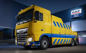 Picture light, yellow, the building, DAF, tow truck, DAF, Space Cab, 2016, 6x2, platform, Euro6, DAF …