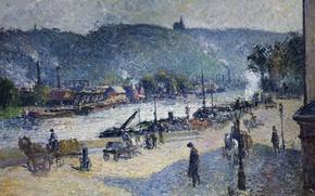 Picture landscape, the city, picture, Camille Pissarro, The quays at Rouen