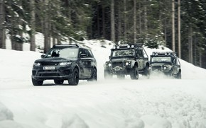 Picture car, ice, Land Rover, cars, race, speed, snown