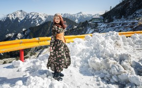 Picture Nature, Mountains, Snow, Asian, Girl