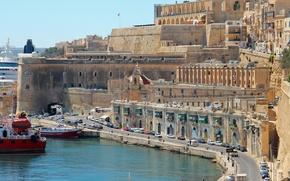Picture road, transport, home, ships, Bay, promenade, Malta, Valletta, Valletta