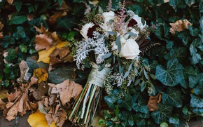 Picture autumn, leaves, flowers, roses, bouquet, wedding