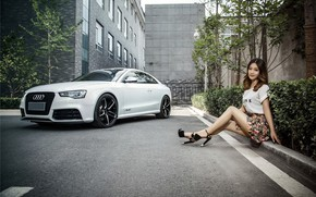 Picture look, Audi, Girls, Asian, beautiful girl, white car, sitting on the curb