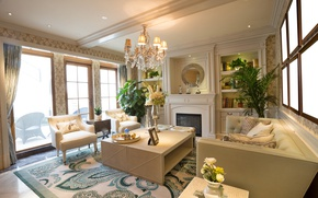 Picture flowers, room, sofa, mirror, chairs, chandelier, fireplace, living room