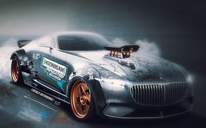 Picture car, wallpaper, Mercedes, red, ice, wall, ken block, Maybach, beauty, comfort, luxury, automobiles, vehicle, official ...