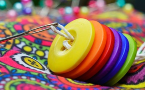Wallpaper buttons, needle, sewing, thread, rainbow