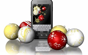 Picture balls, New year, phone, 3D Graphics