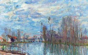 Picture landscape, picture, Alfred Sisley, Alfred Sisley, The river Loing and the Bridge at Moret-sur-Luena