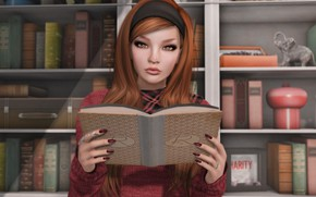 Picture girl, book, brown hair