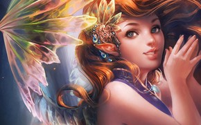 Wallpaper girl, background, elf, fairy, art, Sakimichan, fantasy