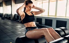 Wallpaper brunette, workout, fitness, abs