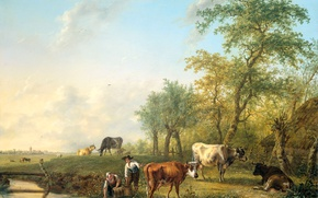 Picture animals, tree, oil, picture, Landscape with Cattle, Yang Cobell