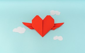 Picture heart, clouds, origami, blue background