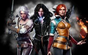Picture background, girls, sword, book, The Wild Hunt, Raven, trio, crow, Trio, Triss Merigold, The Witcher ...