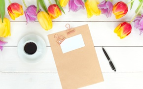 Picture flowers, coffee, spring, colorful, tulips, fresh, wood, flowers, beautiful, tulips, coffee cup, spring, bright
