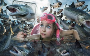 Picture fish, the situation, girl