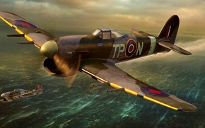 Picture British, fighter-bomber, artwork, piston, Typhoon, Royal Air Force, Hawker, WWII, Mk.IB