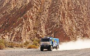 Picture Mountains, Grass, Dust, Rocks, Sport, Speed, Race, Master, Dirt, Squirt, Russia, Heat, Kamaz, Rally, Dakar, …
