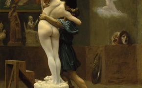 Wallpaper Jean-Leon Gerome, Pygmalion and Galatea, mythology, workshop, interior, picture