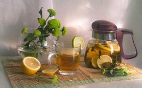 Picture flowers, morning, mug, glass, tea, lemon, still life, dishes