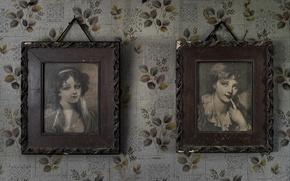 Picture retro, wall, Wallpaper, portraits