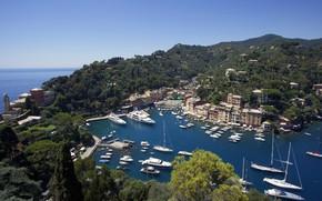 Wallpaper The Ligurian sea, Ligurian Sea, Liguria, Liguria, Italia, boats, yachts, Bay, coast, panorama, Italy, Portofino, ...