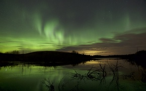 Picture landscape, Northern lights, night star