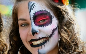 Wallpaper day of the dead, day of the dead, face, girl, paint, look