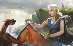 Picture dragon, art, game of thrones, Khaleesi, Daenerys Targaryen, fantasy, LI qian
