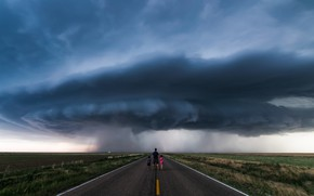 Wallpaper road, the sky, storm, children, people, cyclone, male