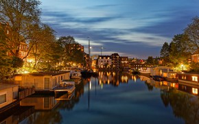 Picture the sky, trees, lights, river, home, yachts, boats, the evening, Amsterdam, lights, channel, Netherlands