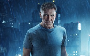 Picture night, the city, lights, fiction, rain, Thriller, poster, Harrison Ford, Harrison Ford, Rick Deckard, Blade ...