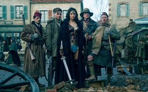 Picture Diana, machine gun, uniform, rifle, pose, blade, shotgun, League of Justice, DC Comics, gauntlet, cinema, ...
