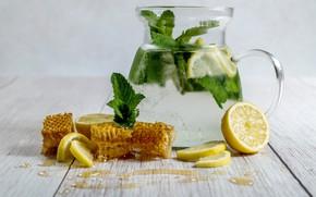 Picture Glass, Lemon, Drink, Homemade Lemonade, Honey