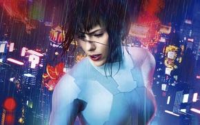 Picture city, Scarlett Johansson, cinema, rain, mecha, night, movie, dragon, brunette, film, pose, suit, oppai, Ghost …