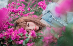 Picture girl, flowers, face, lies
