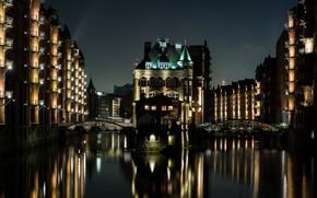 Picture night, bridge, lights, home, Germany, channel, Hamburg
