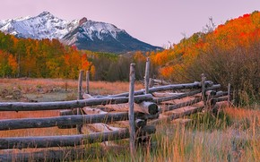Picture autumn, forest, trees, mountains, the fence, Colorado, USA