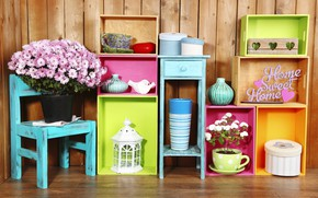 Wallpaper box, decoration, colorful, colors, shelves, lantern, design, home, interior, flowers, flowers, vase
