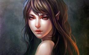 Picture girl, fantasy, long hair, red eyes, lips, face, brunette, artwork, fantasy art, Elf, portrait, mouth, …