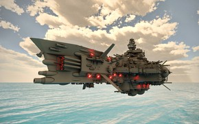 Picture the sky, clouds, weapons, ship, Fly Dreadnought Molotoff
