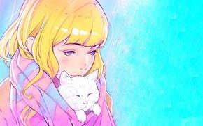 Wallpaper girl, yellow hair, bangs, blue eyes, face, blue background, scarf, white kitten, Ilya Kuvshinov