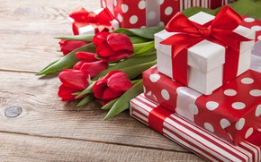 Wallpaper flowers, holiday, gift, tulips, Valentine's day, box