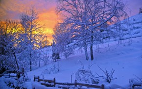 Wallpaper sunset, trees, winter, snow, slope, the evening, the fence