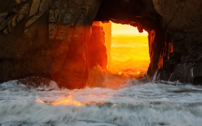 Picture sea, rocks, Sunset, Big Sur, Pfeiffer Beach, Monterey