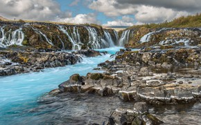 Picture water, waterfall, stream, Iceland, Iceland, Bruarfoss