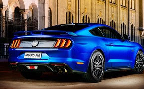 Picture blue, Ford, rear view, Fastback, 2018, Mustang GT