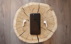 Wallpaper iPhone, iPhone 7, slice, EarPods, tree, headphones, stump, stump, black, wood, macro