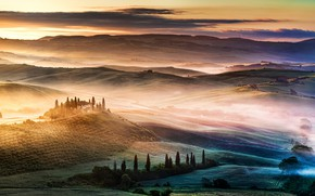 Picture fog, hills, field, Italy, Tuscany